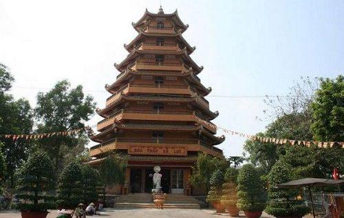 bảo tháp xá lợi trong chùa trúc lâm chánh giác