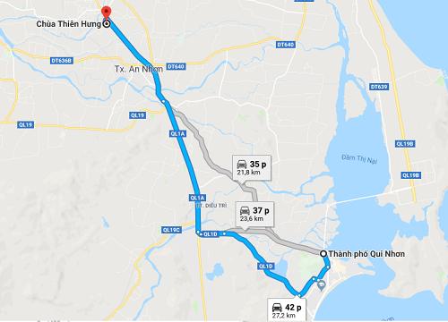 đường đi chùa thiên hưng