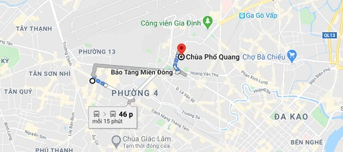 Hướng dẫn đi đến chùa Phổ Quang