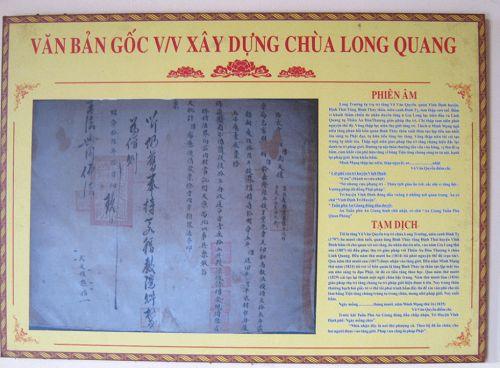 văn bản xây dựng chùa Long Quang